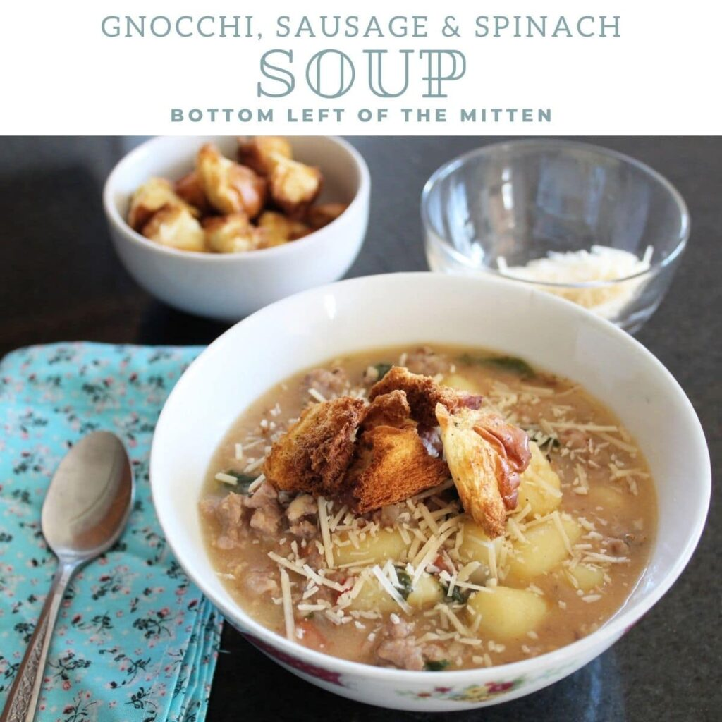 collage of gnocchi sausage and spinach soup with descriptive text