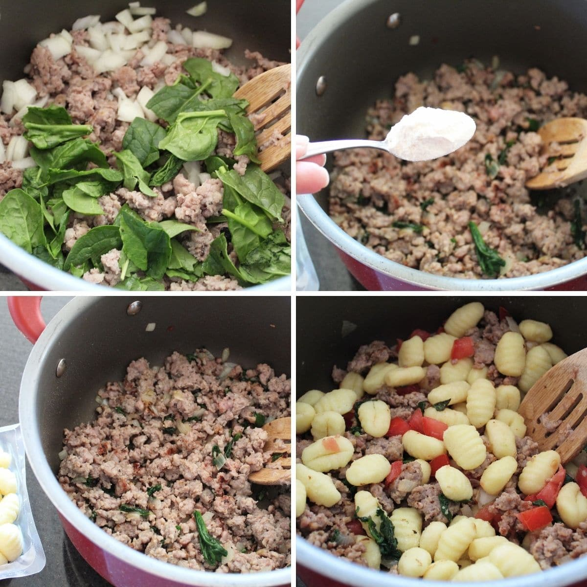Ingredients and steps for making Gnocchi, Sausage & Spinach Soup.
