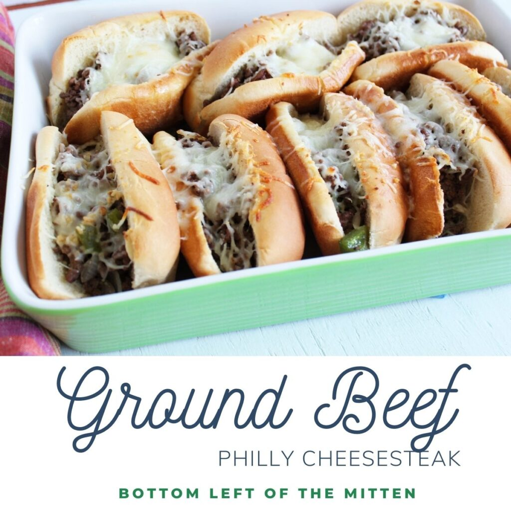 collage image of ground beef philly cheesesteak with descriptive text