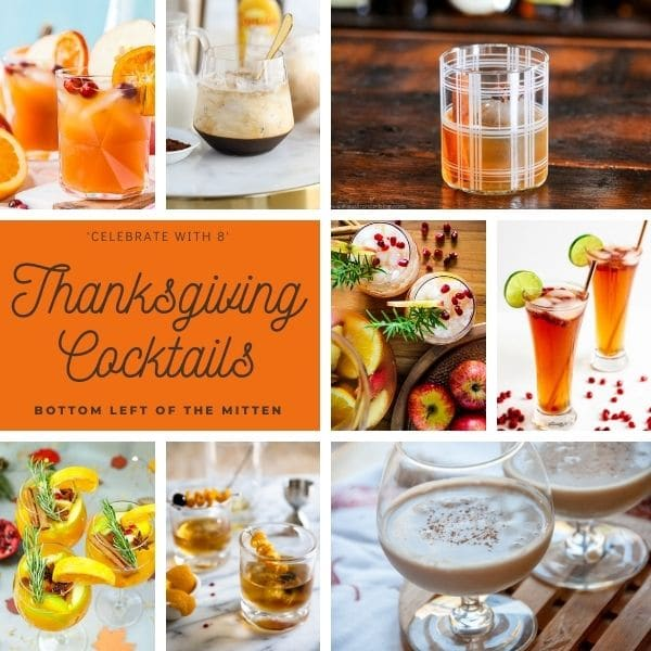 collage image of Thanksgiving cocktails with descriptive text