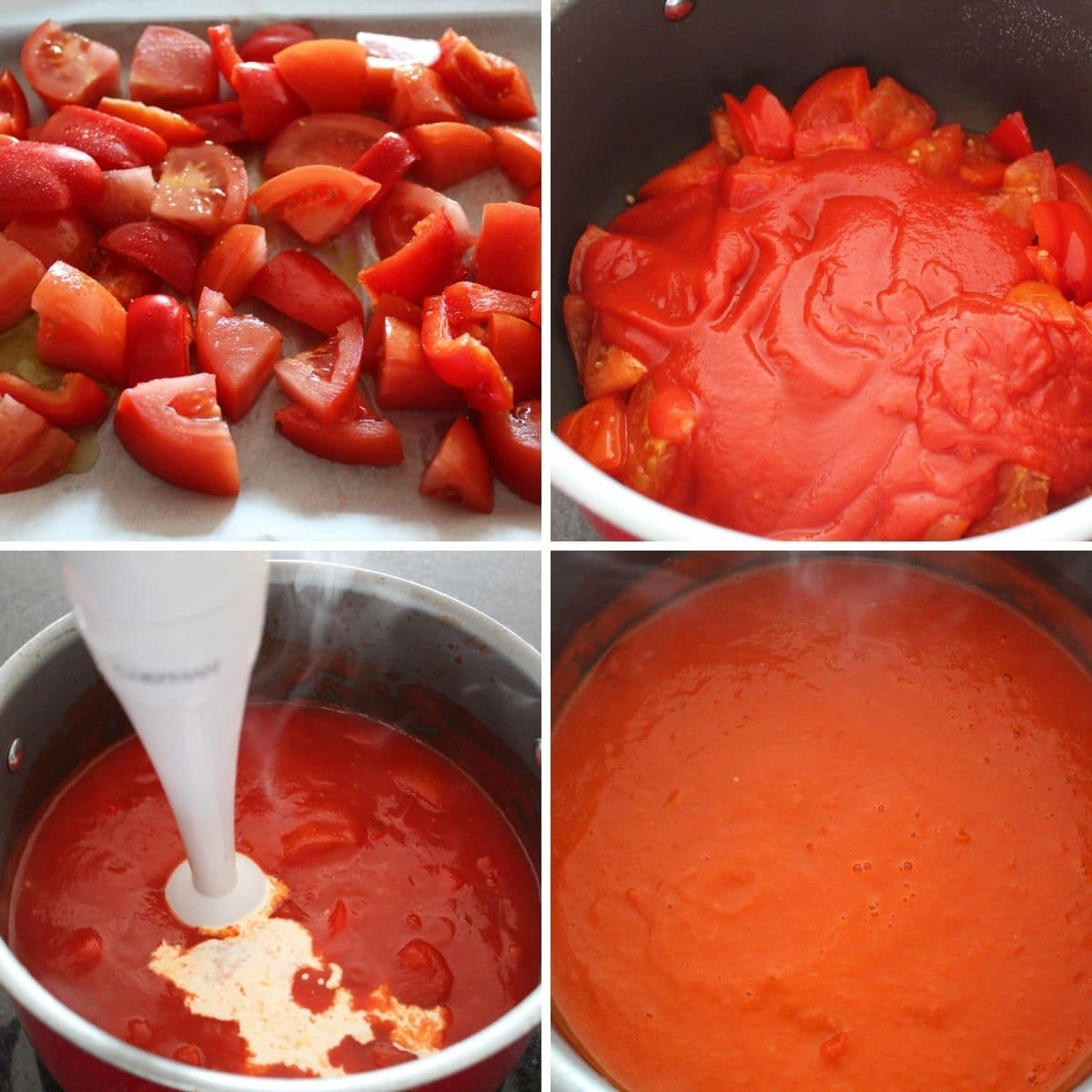 collage image for making tomato and roasted red pepper soup