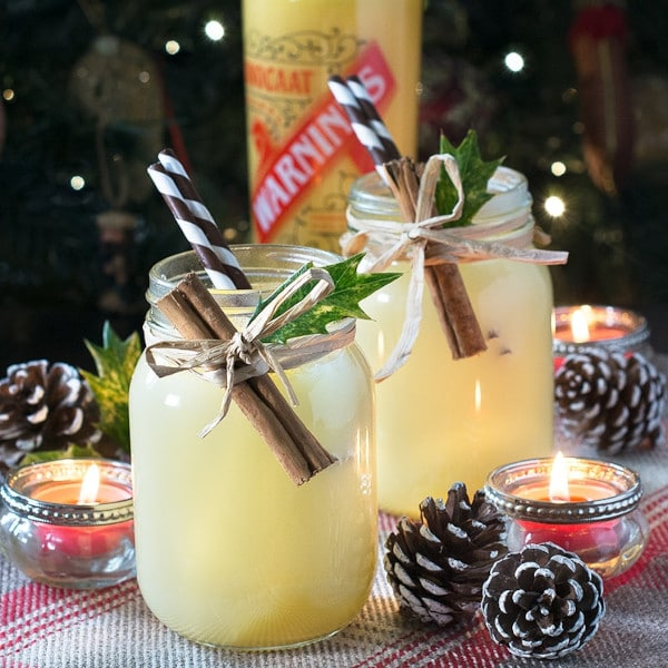 styled shot of a A FESTIVE SNOWBALL COCKTAIL