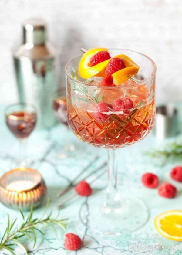 styled shot of WINTER APEROL SPRITZ RECIPE WITH SLOE GIN