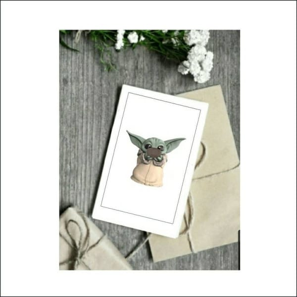 overhead shot of Baby yoda Blank Greeting Card