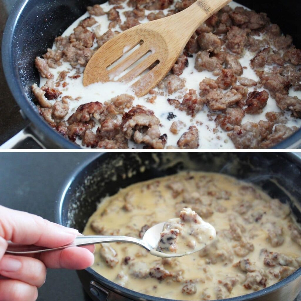 collage image of homemade sausage gravy being made in a pan.