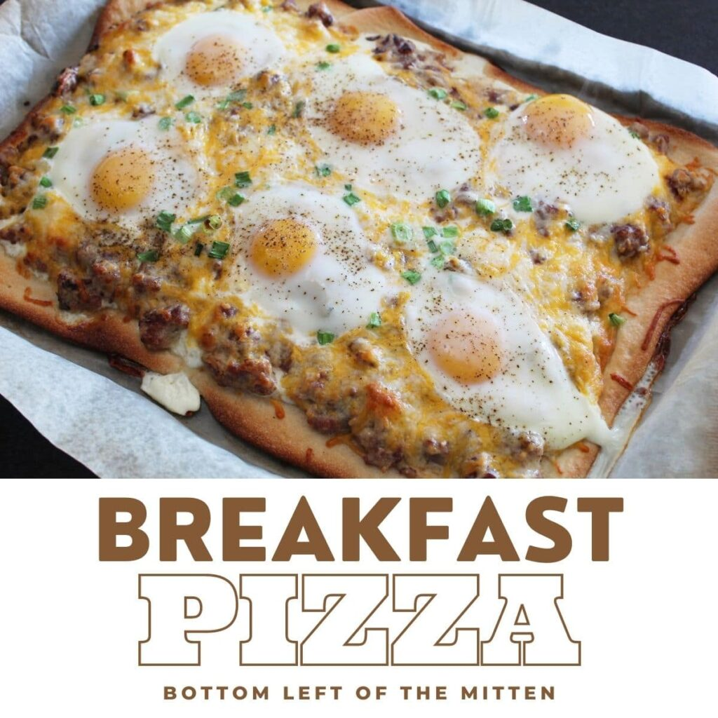 collage image of breakfast pizza with descriptive text.
