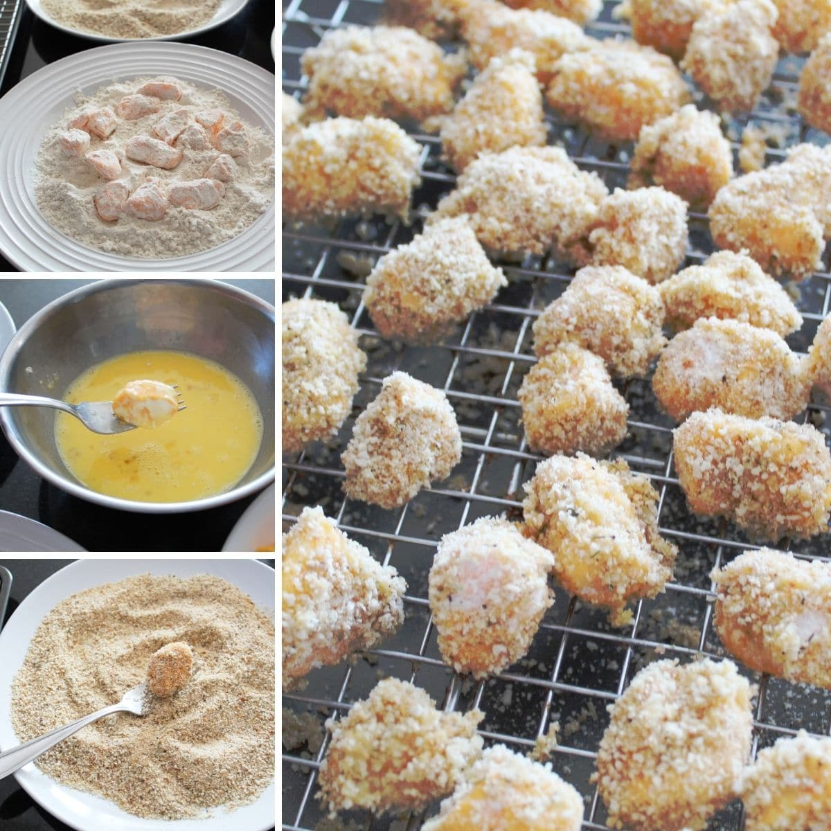 collage image of steps for making fried cheese curds