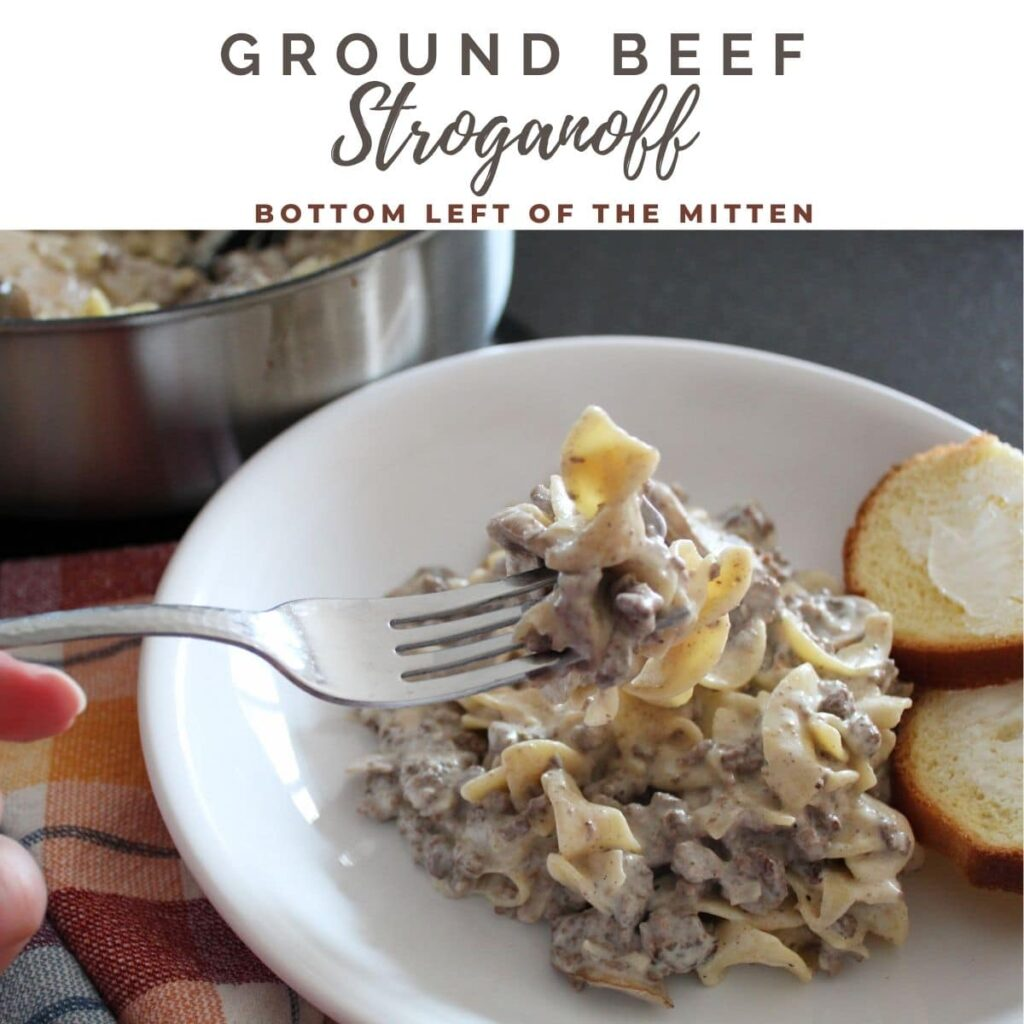 collage image of ground beef stroganoff in a dish with a fork twirling the noodles with descriptive text