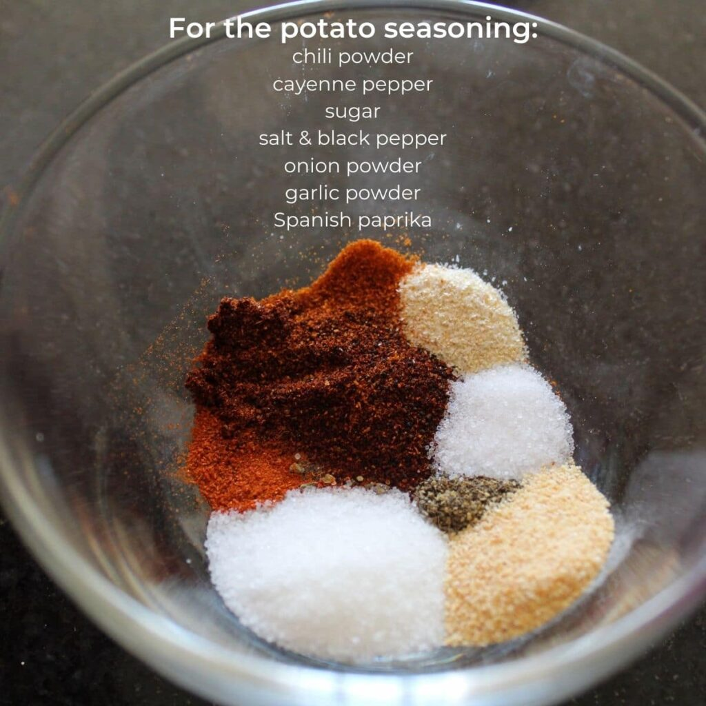 overhead shot of a dish of spices for potato wedges with descriptive text overlay.