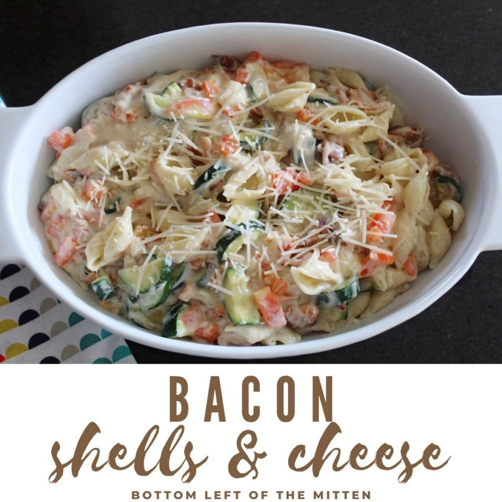 collage image of an overhead shot of bacon shells and cheese in a pan with a cloth napkin next to it. descriptive text overlayed on top.
