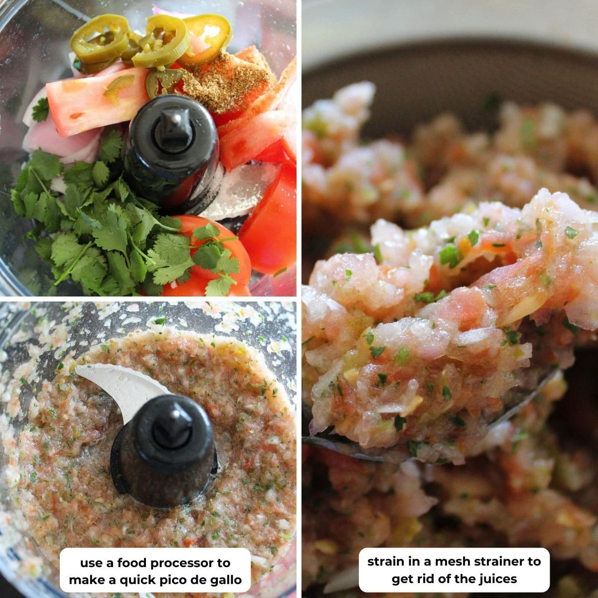 collage of three images for making pico de gallo in a food processor. descriptive text overlaid on images for making this recipe.