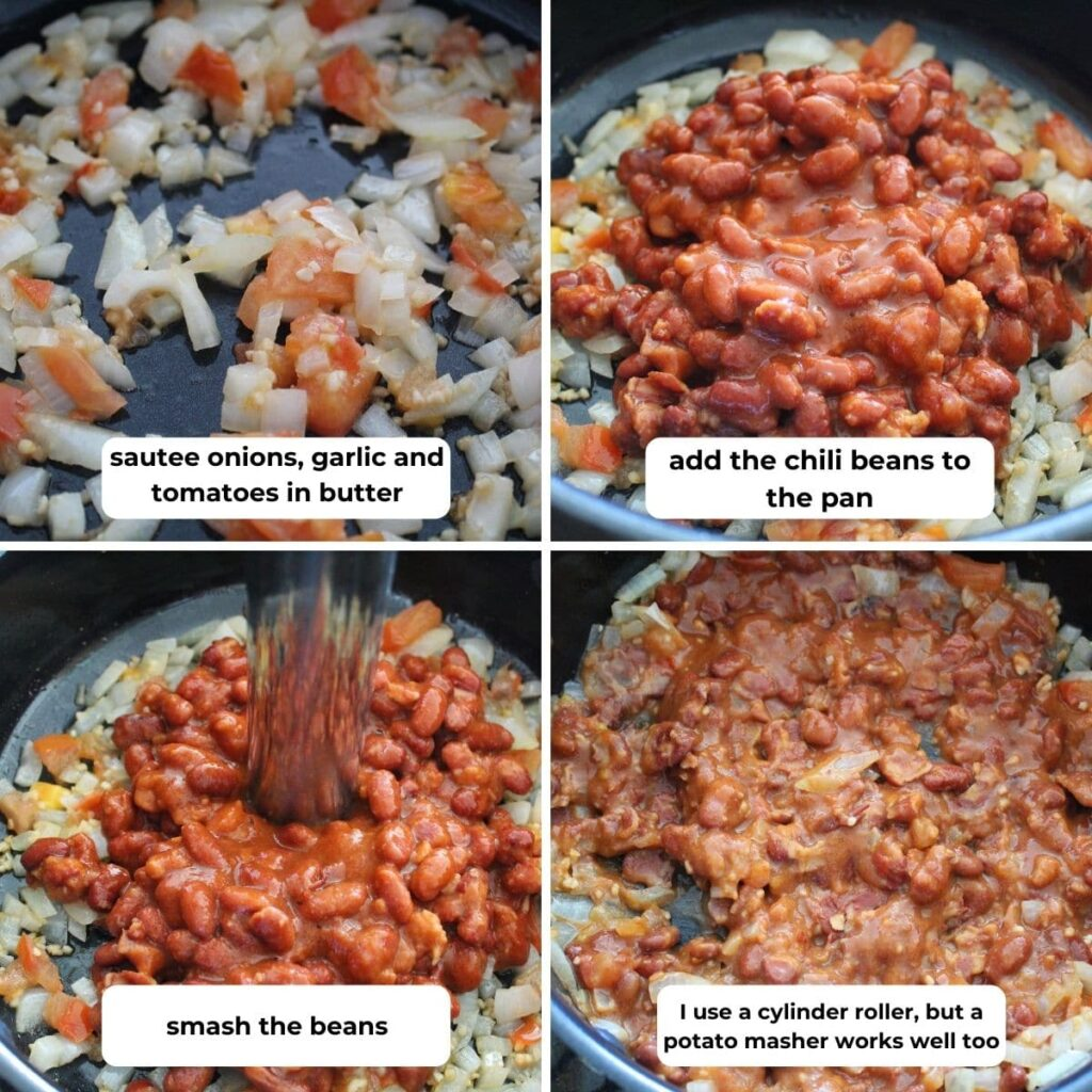 collage of four images with descriptive text for how to make double batch bean smash.