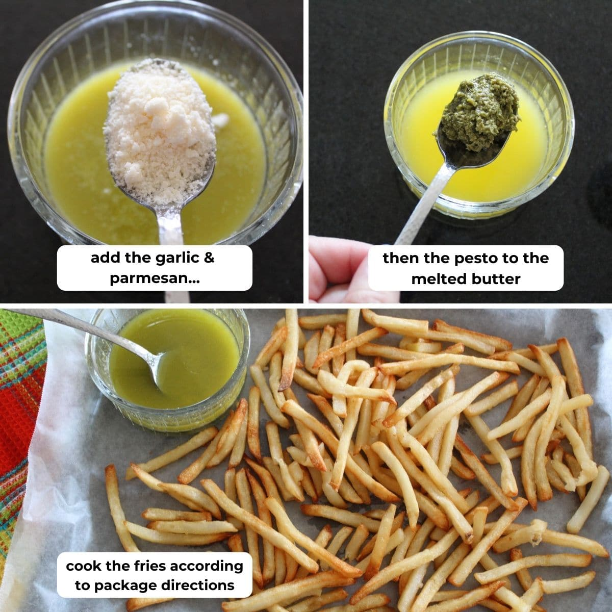collage of three images for how to make pesto sauce to drizzle over French fries. descriptive text box overlay in each image.