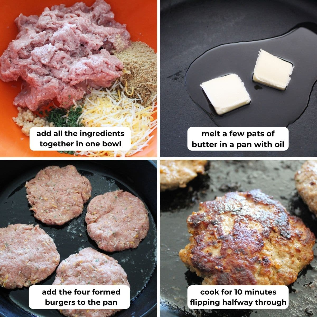 collage of four images for making turkey cheeseburgers with descriptive text overlay.
