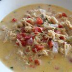 queso chicken chili in a bowl.