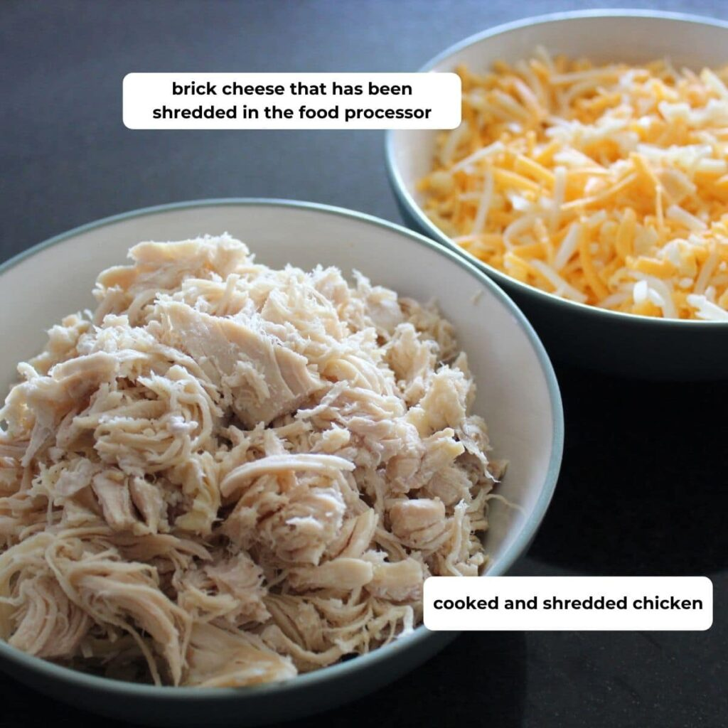 bowl of shredded chicken and bowl of shredded cheese with descriptive text.