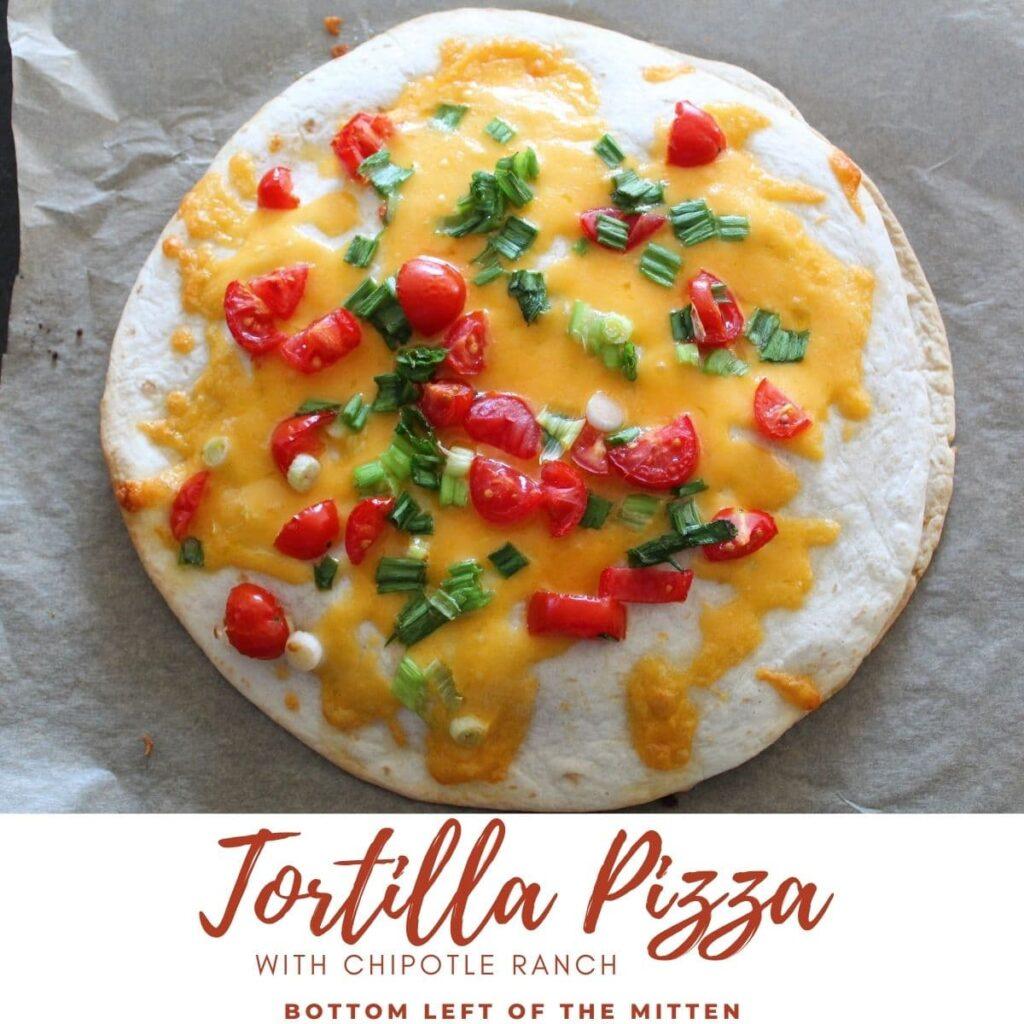 tortilla pizza recipe with descriptive text overlay..
