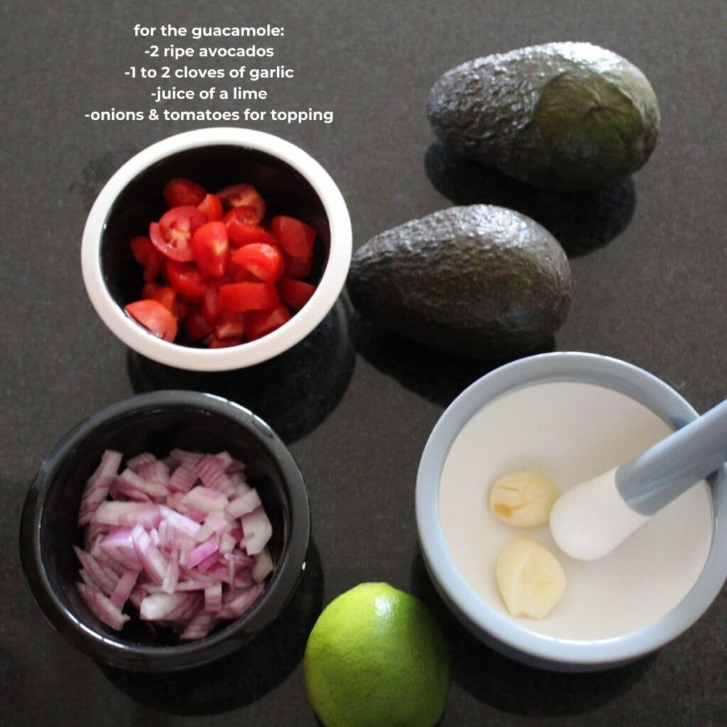 ingredients and text overlay for easy guacamole recipe.