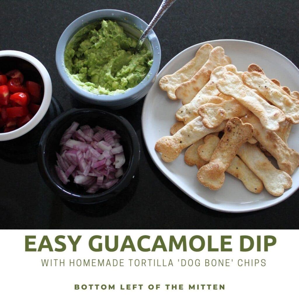 overhead shot of avocado dip and tortillas with descriptive text overlay.